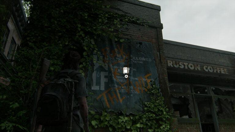 Banner an der Außenwand des Ruston Coffee für Tagebucheintrag in The Last of Us 2