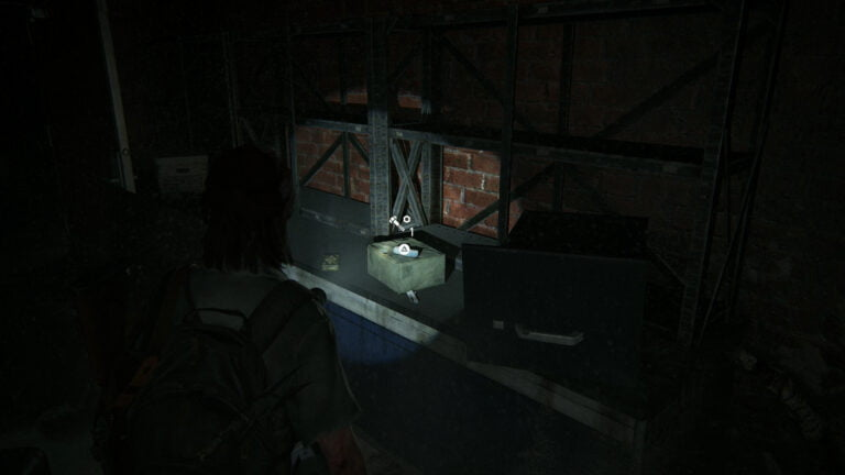 2 Upgrade-Teile auf dem Regal in Kellerraum #2 von Goldstar Liquor in The Last of Us 2