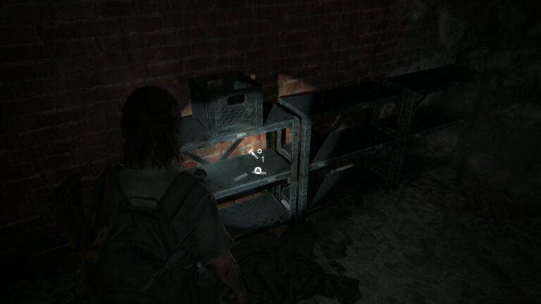 2 Upgrade-Teile auf dem Regal in Kellerraum #3 von Goldstar Liquor in The Last of Us 2