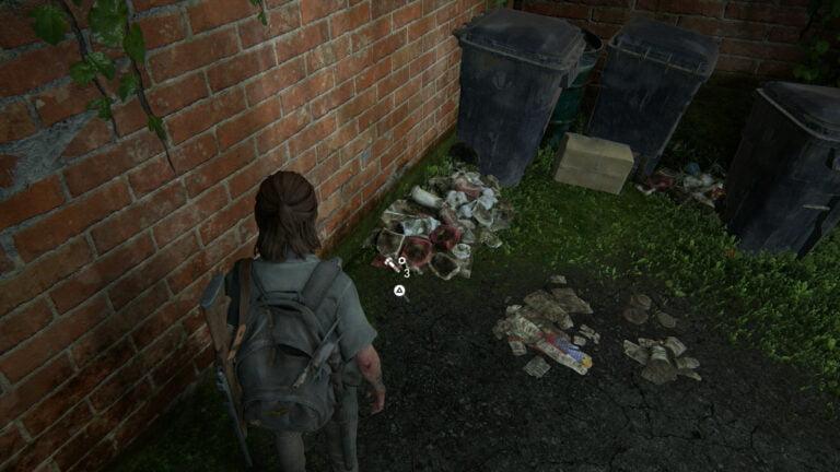 4 Upgrade-Teile im Müll-Sammelbereich neben dem Müllhaufen in The Last of Us 2