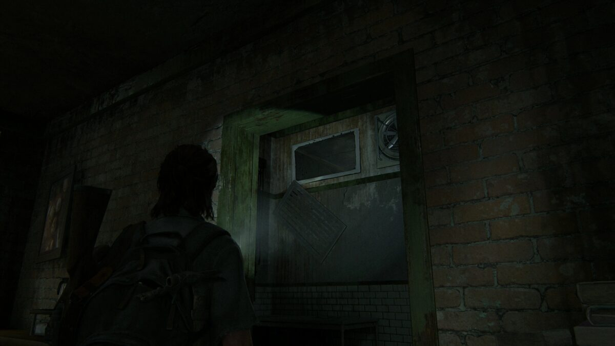 Ellie schaut auf den offenen Ventilationsschacht im Ruston Coffee in The Last of Us 2