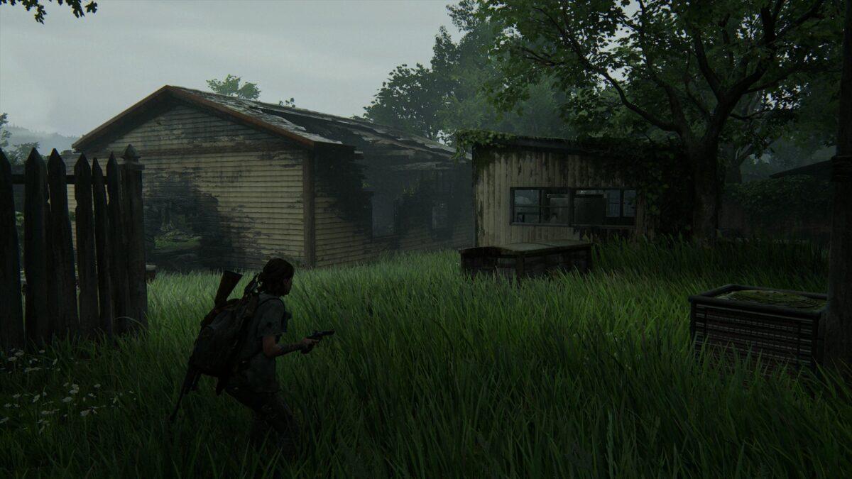 Ein Schuppen und eine Häuserruine invon WLF-Patrouillen besetztem Gebiet in The Last of Us 2
