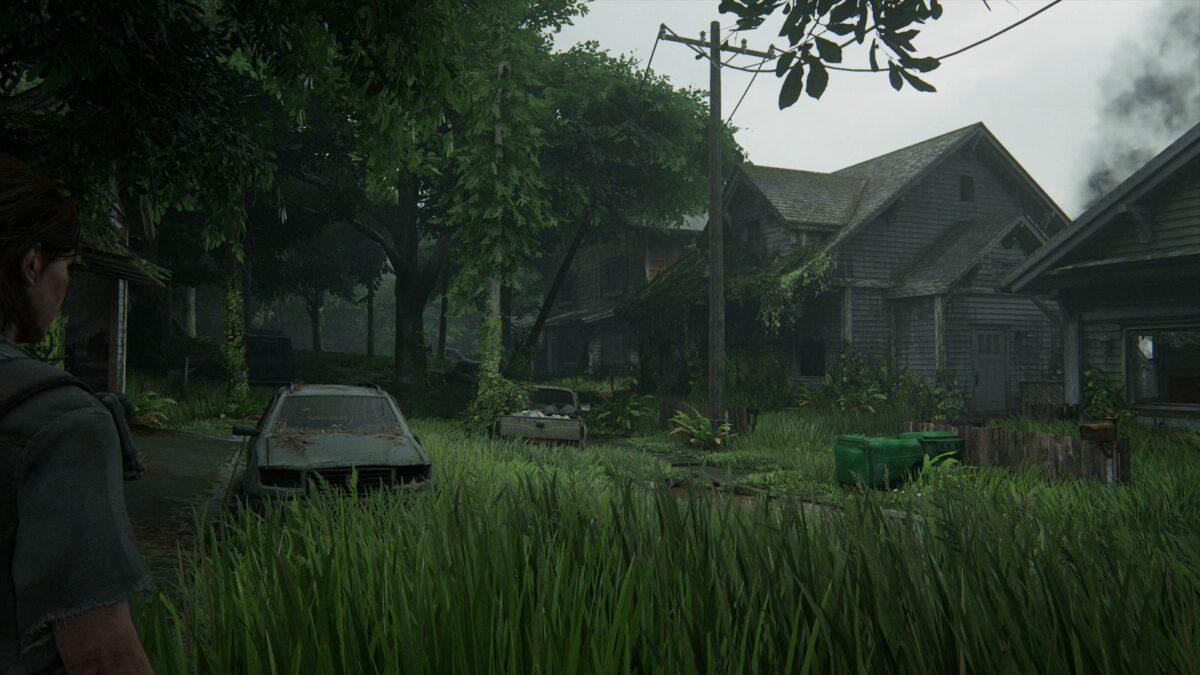 Eine ehemalige Siedlung mit verlassenen Häusern und vielen WLF-Patrouillen in The Last of Us 2