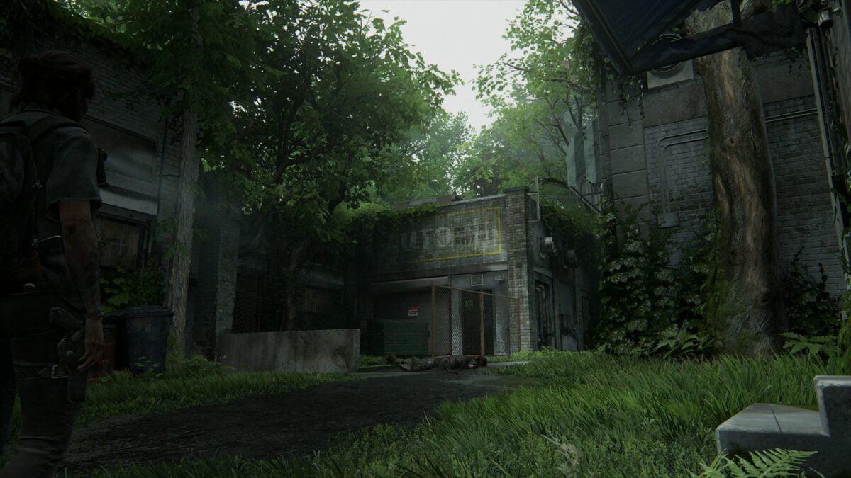 Blick auf die Autowerkstatt in Hillcrest in The Last of Us 2