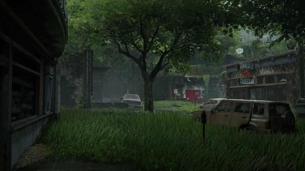 Der zweite größere Levelbereich in Hillcrest mit WLF, Wracks und Ruinen in The Last of Us 2