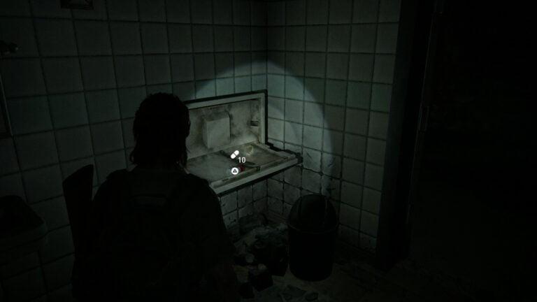 10 Zusätze auf Klapptisch in der Toilette im Keller von Goldstar Liquor in The Last of Us 2