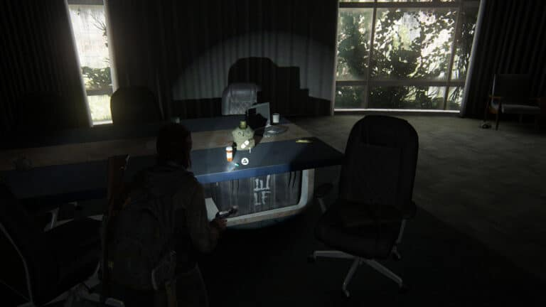 Supplements on the former conference table in the middle office on the second floor at Channel 13 in The Last of Us 2.