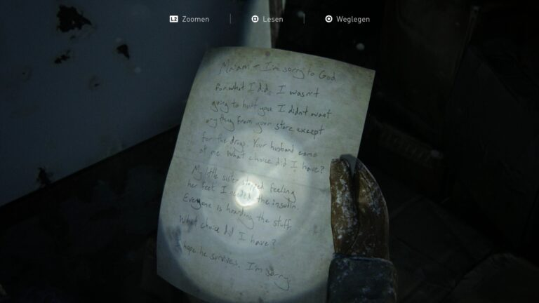 Artifact Supermarket apology in The Last of Us 2