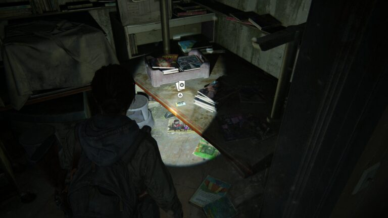 Trading card Laurent Foucault, CEO Spark on the desk in the storeroom at the children´s book section of the library in The Last of Us 2