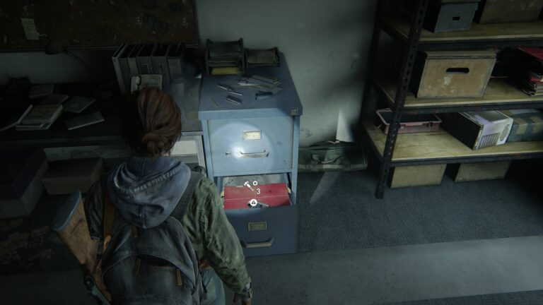 Upgrade parts on the blue file cabinte in the neighboring room in National Radio Array Station in The Last of Us 2