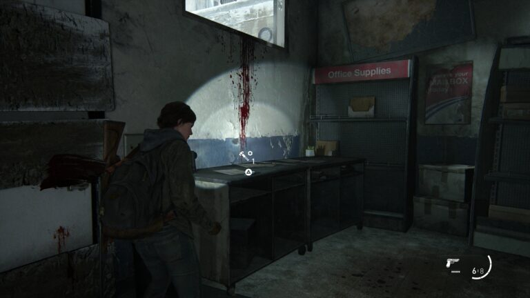 Teil auf Rollschrank unter dem Fenster mit der Blutspur in The Last of Us 2