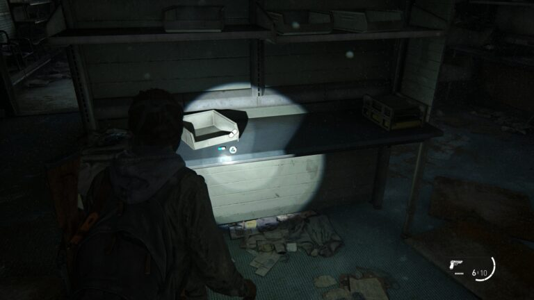 Supplements on the desk in the center of the back room of Weston´s Pharmacy in Green Place Market in The Last of Us 2