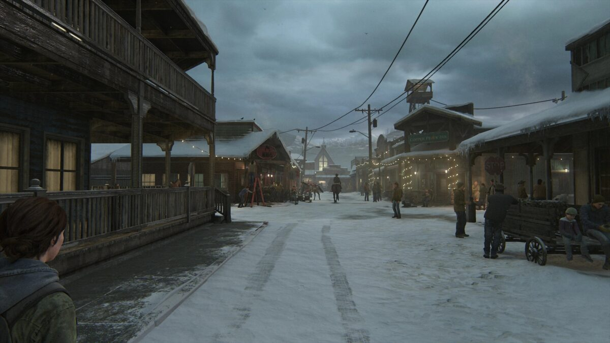 The snowy main street in Jackson in The Last of Us 2