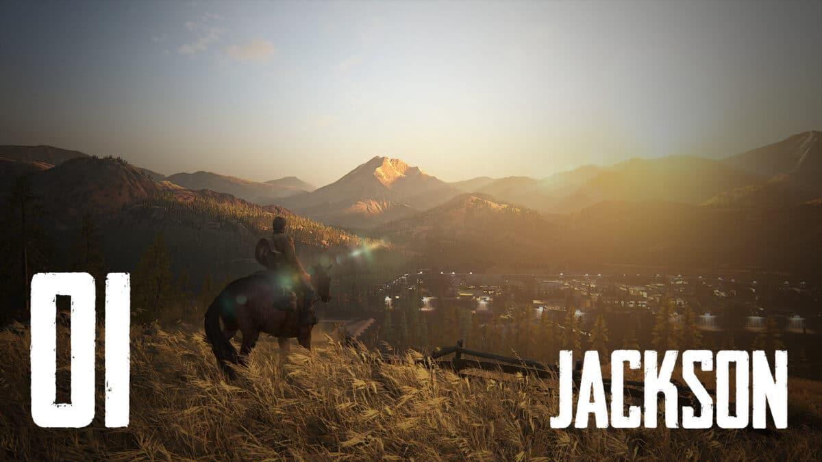 Joel auf Pferd blickt über Jackson in The Last of Us 2