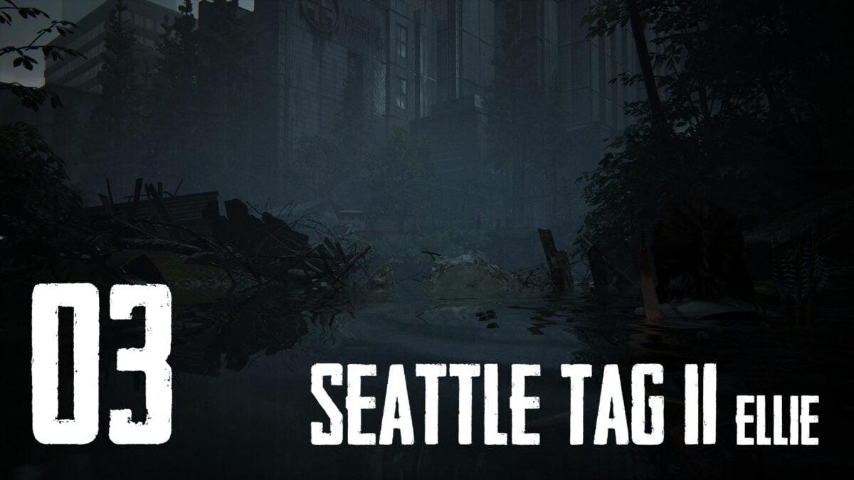 """Ellie im Wasser, schaut auf das Lakehill Seattle Hospital, Bild mit Markierung """"03 Seattle Tag II Ellie"""""""