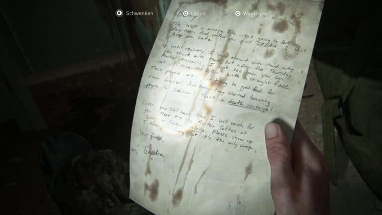 The artifact Plea to a friend Letter in The Last of Us 2.