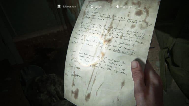 Das Artefakt Bitte an einen Freund in The Last of Us 2