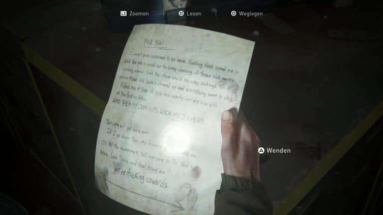 Das Artefakt Brief des Bankräubers in The Last of Us 2