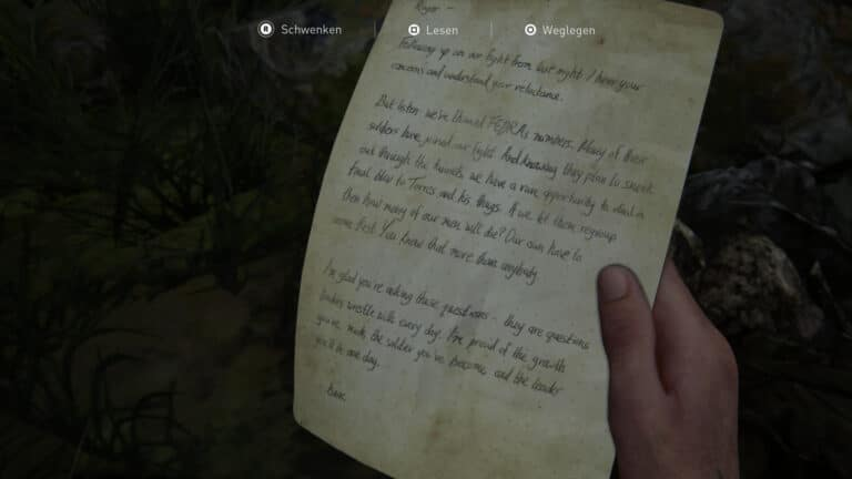 Artefakt Brief von Isaac in The Last of Us 2