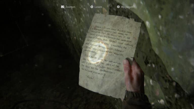 Das Artefakt Gemeinschaftliche WLF-Vorratskiste-Notiz in The Last of Us 2