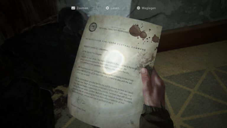 The artifact Lt. Torres Final Memorandum in The Last of Us 2.