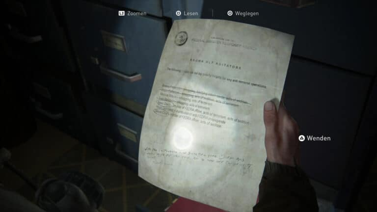 Das Artefakt Liste bekannter WLF-Agitatoren in The Last of Us 2