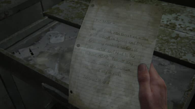 Das Artefakt Notfallprotokolle-Memo in The Last of Us 2