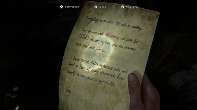 Das Artefakt Notiz an den Informanten in The Last of Us 2