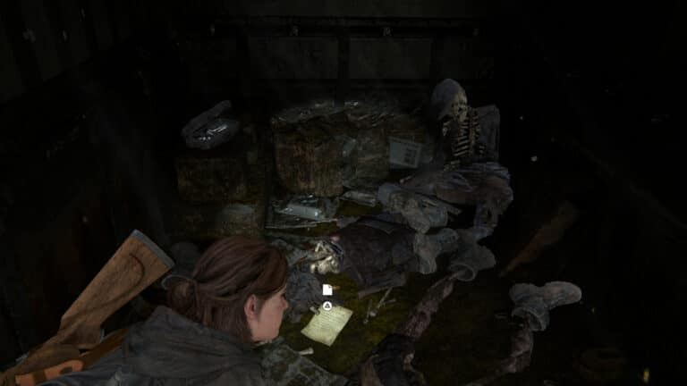 Neben Leichen und Unrat liegt das Artefakt Notiz an den Informanten in The Last of Us 2