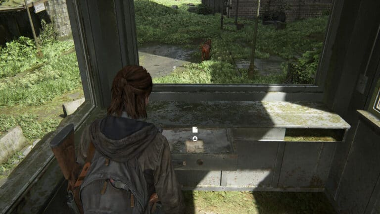 In the guard house of the roadblock there is a drawer with the artifact Street Drawing in The Last of Us 2.