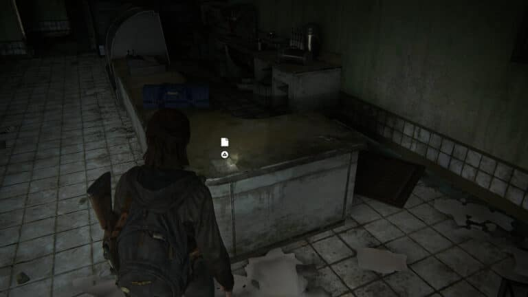 The artifact WLF Safe House Supply Note lies on the counter in The Last of Us 2.