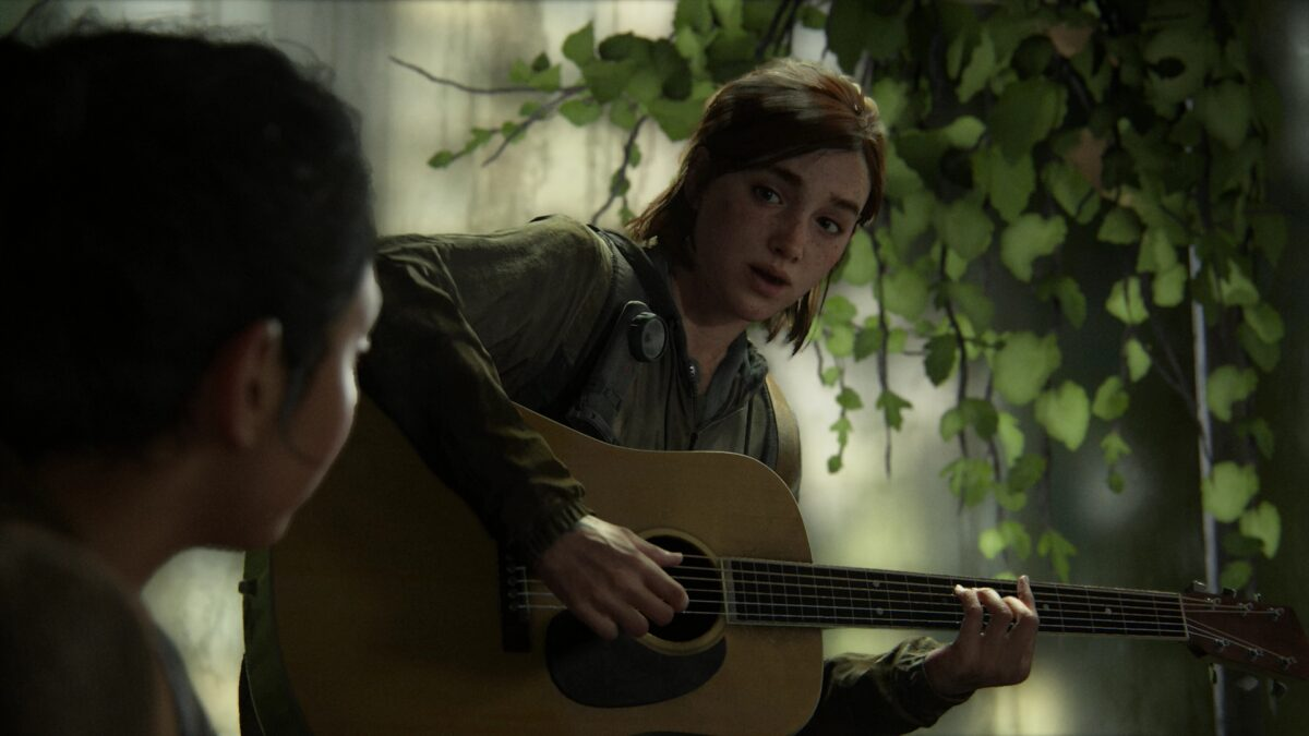 Ellie singing a song for Dina on the guitar in The Last of Us 2.