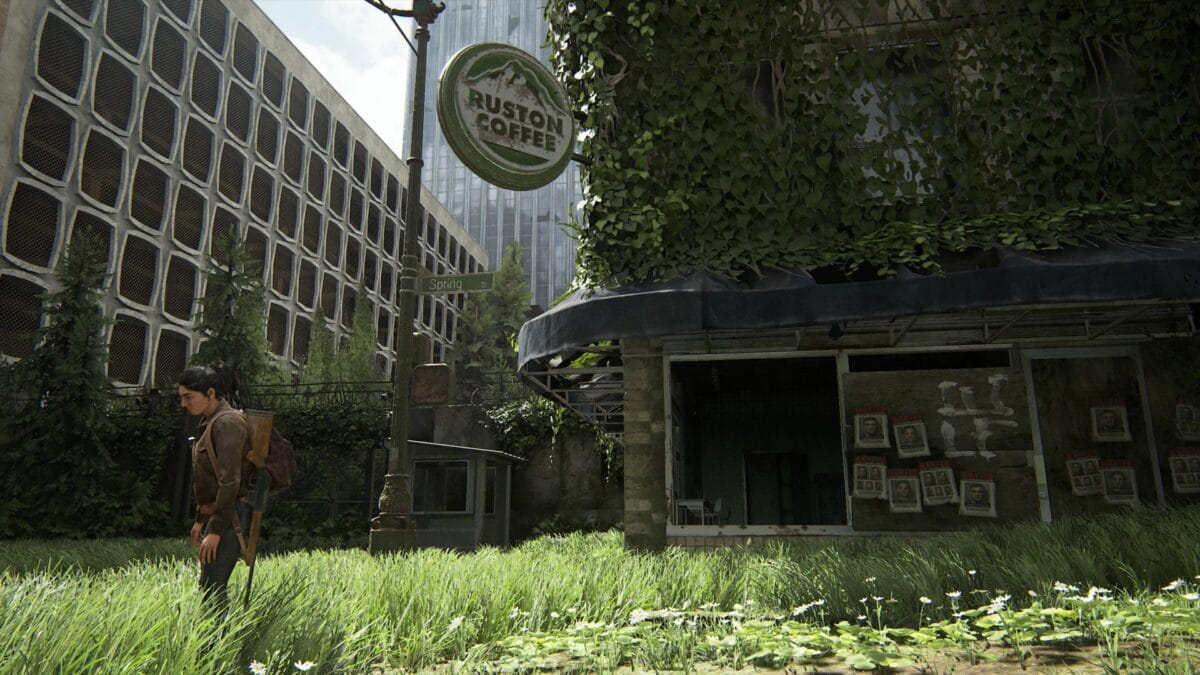 Ellie blickt auf den Ruston Coffe Shop in Seattle Zentrum in The Last of Us 2