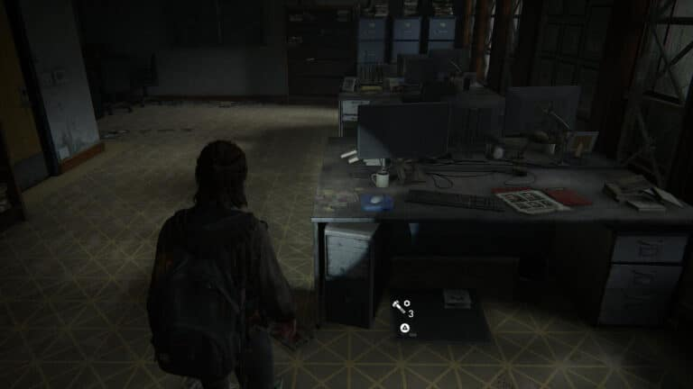 Upgrade parts under the desk in the bailiff's office in The Last of Us 2.