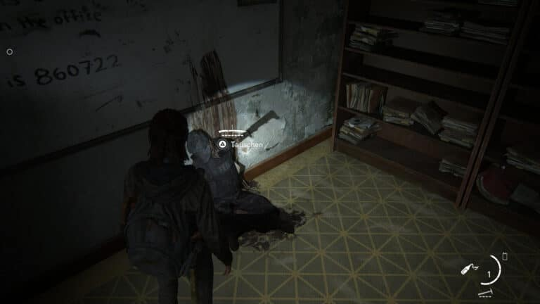 The melee weapon Machete stuck in a corpse in the bailiff's office in The Last of Us 2.