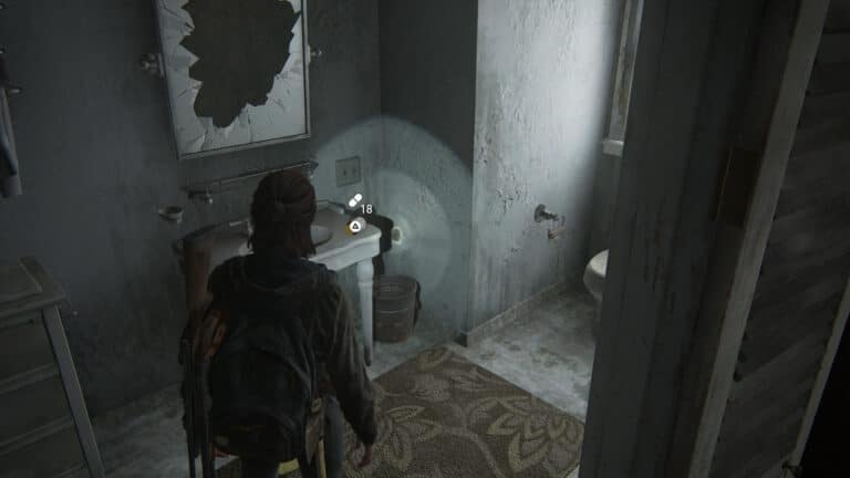 Supplements on the corner of the washstand under the destroyed mirror of the bathroom in the Serevena Hotel in The Last of Us 2.