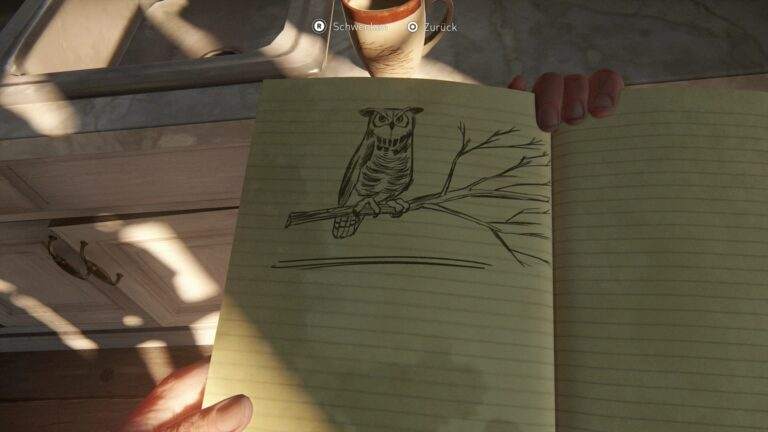 A drawn owl on a branch in The Last of Us 2