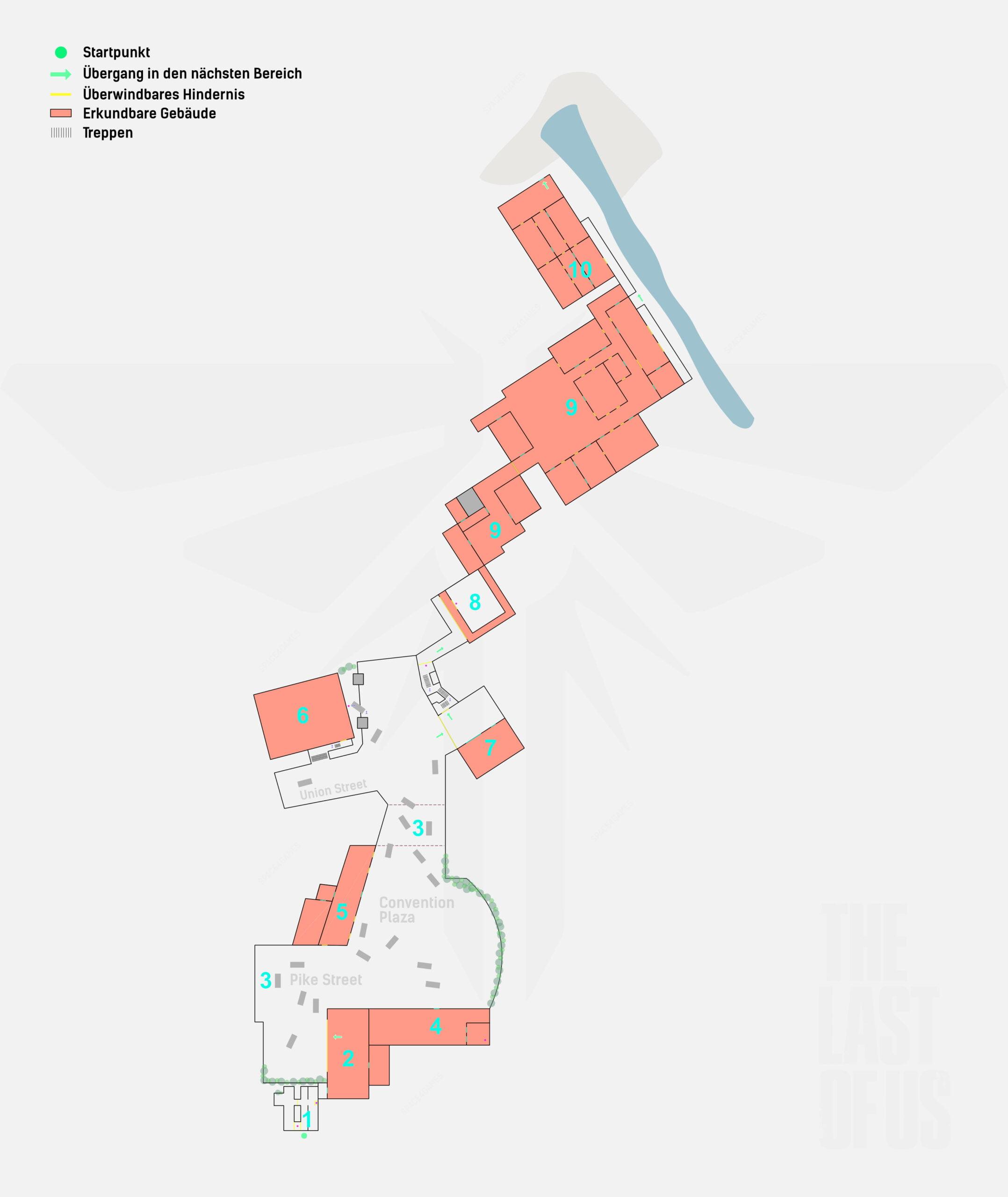 Karte The Last of Us 2, Convention Center und Umgebung mit Markierungen