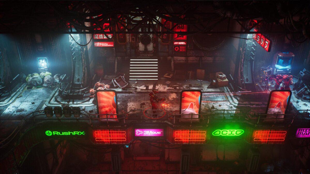 Ein Feuergefecht zwischen der Spielfigur von The Ascent und mehreren Gangmitgliedern.