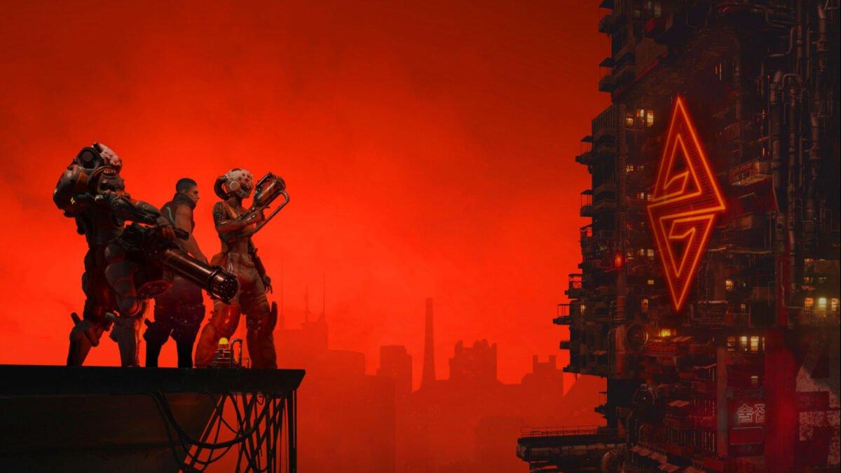 Der Titelbildschirm des Action-RPGs The Ascent von Neon Giant.