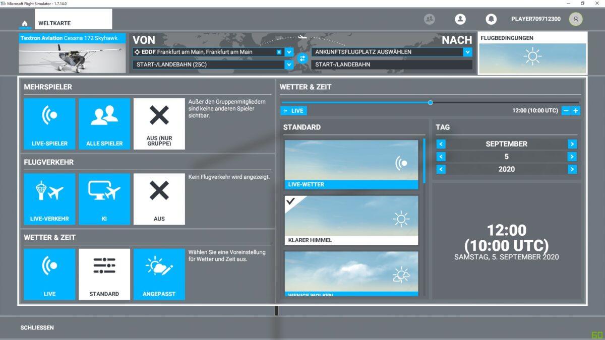 Das Einstellungsmenü Weltkarte im Flight Simulator 2020