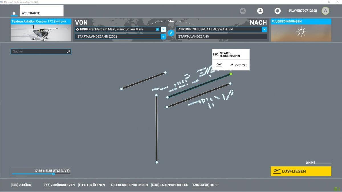 Anzeige für Start-Landebahn 25C des Frankfurter Flughafens im Weltkarte-Menü des Flight Simulator 2020