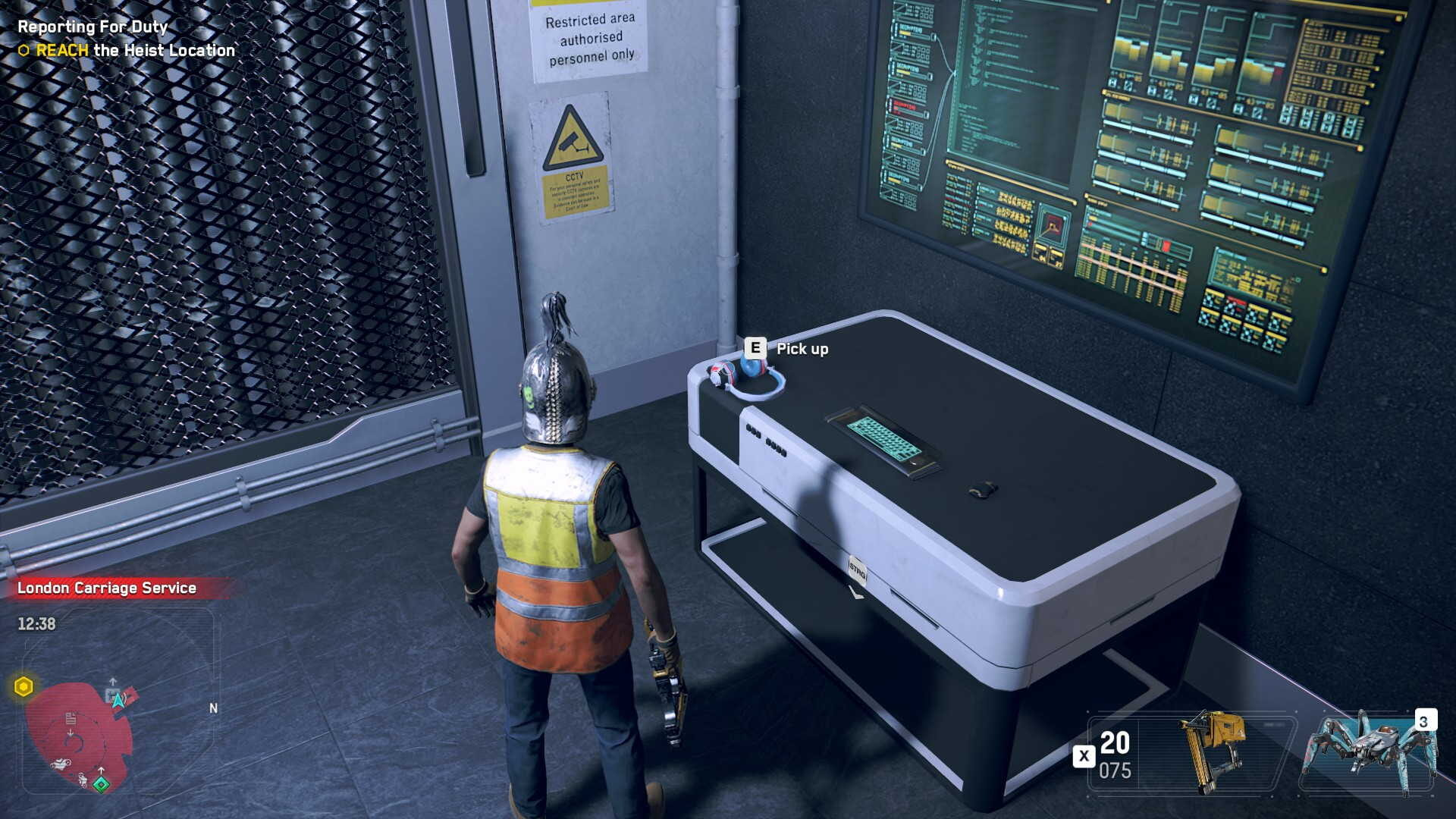 Watch Dogs Legion operative stands in front of a desk with a audio log lying on it.