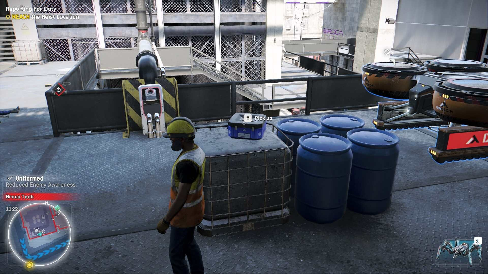 Watch Dogs Legion Operatorive collects blue mask box on balcony