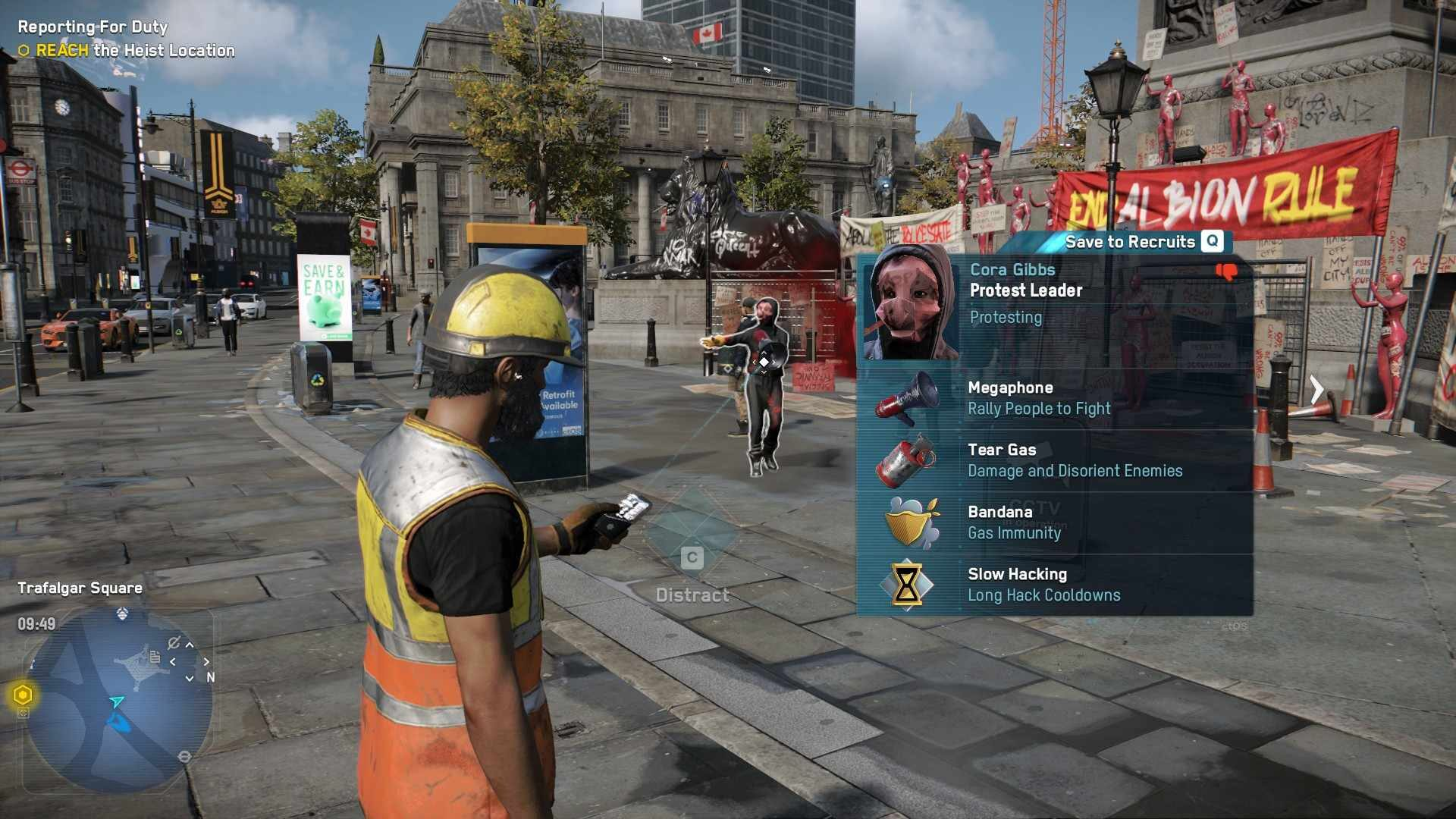 Watch Dogs: Legion Hacker opens the profile of a protest leader in Trafalgar Square