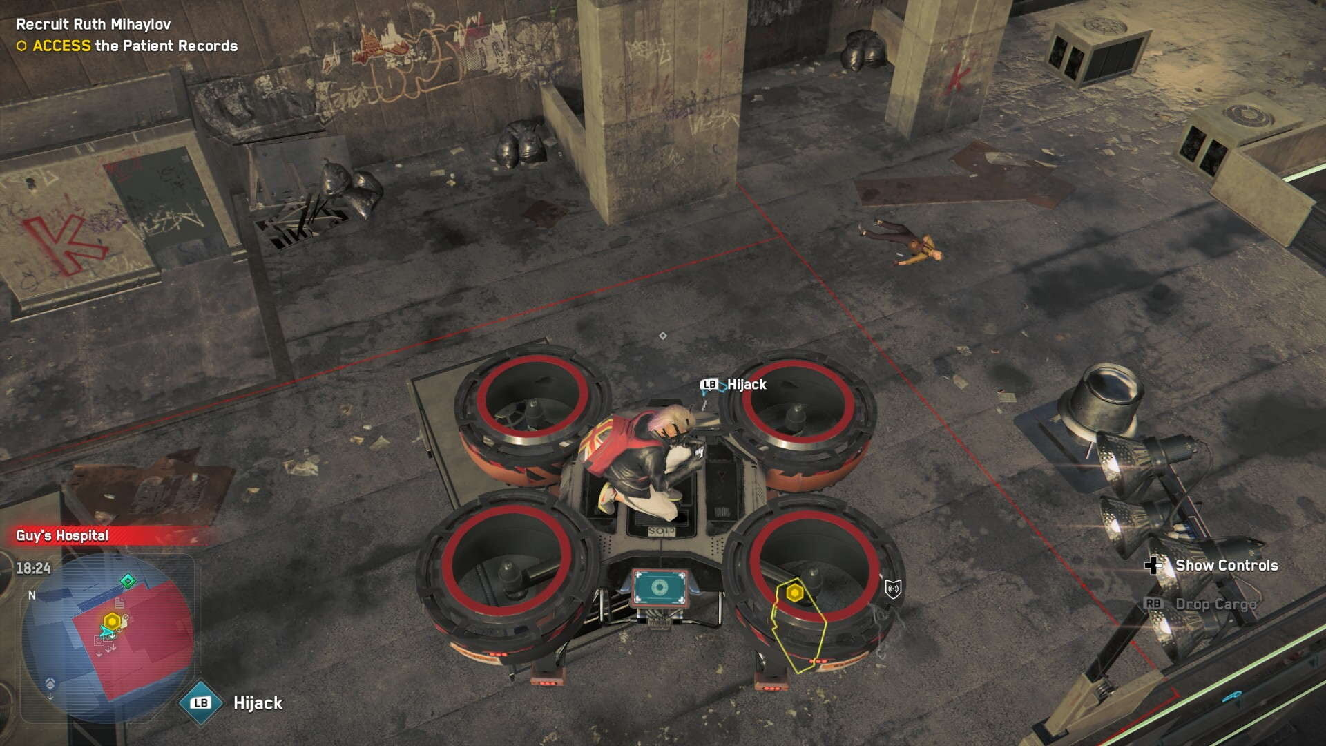 Watch Dogs Legion Operative examines switch circuit on a flying drone from above