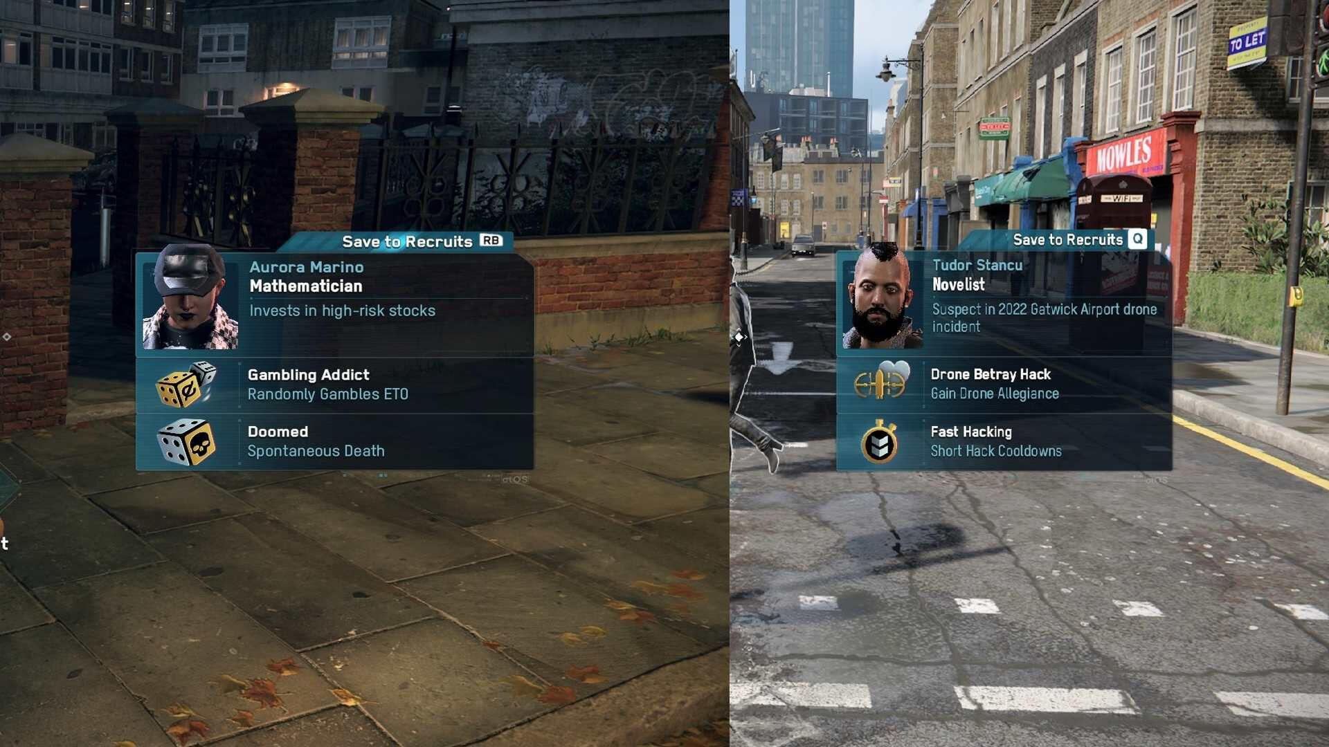 Watch Dogs Legion two recruitment profiles compared side by side