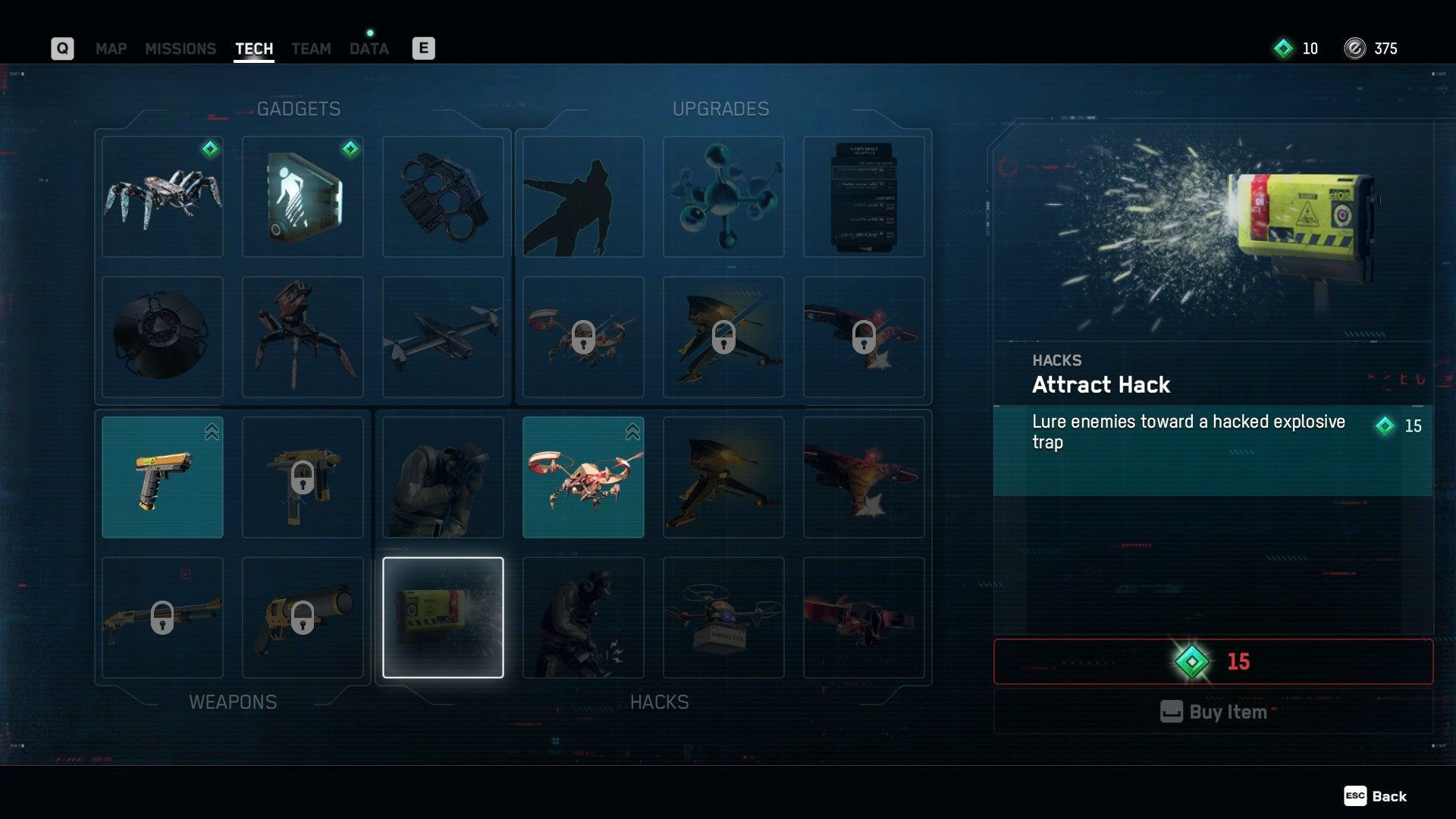 The Attract Hack in the Tech Menu in Watch Dogs Legion