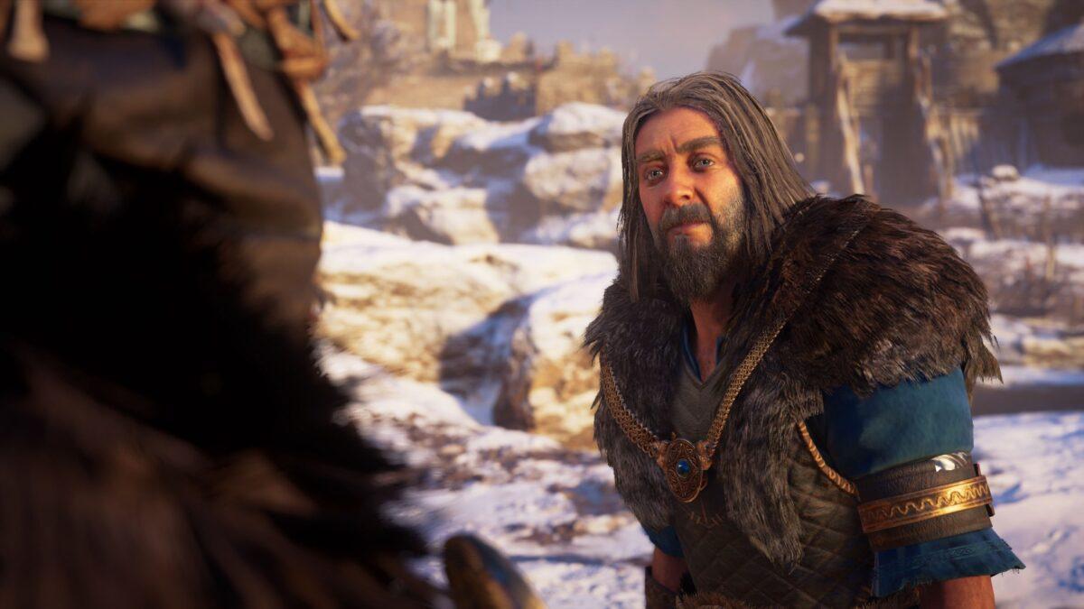 Jarl Hemig und Eivor sprechen über alte Zeiten in Assassin's Creed Valhalla.