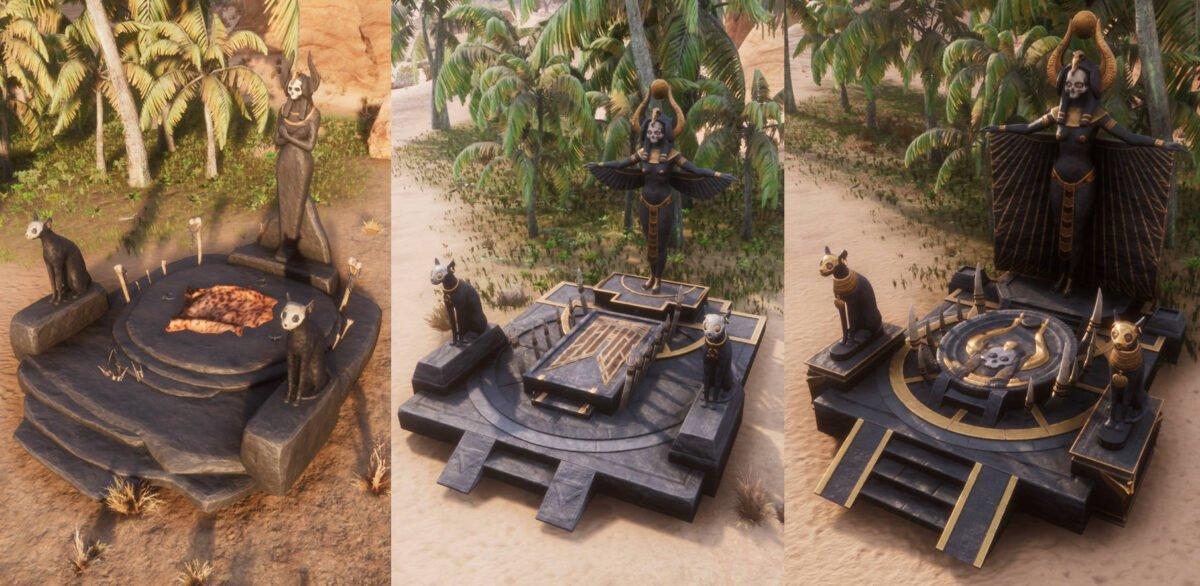 Conan Exiles Derketo-Altar in allen drei Stufen
